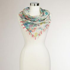 Pastel Floral Square Scarf with Tassels at Cost Plus World Market >> #WorldMarket Mother's Day