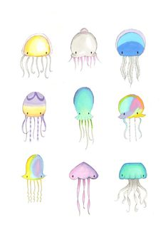 Jellyfish Illustrations Super cute kawaii collection of 9 jellyfish, presented…