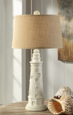 Point Arago Lamp, what a fun lamp for any casual beach house room! #lighthouselamp #coastalliving