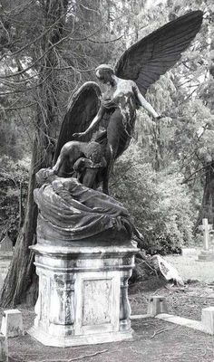 """""""Did you hear a bell ? """" Some say a new angel receives her wings when a bell rings ? This beautiful statue shows an innocent virginal teenager turning into an angel at the moment of her death, so a bell ringing was heard that day ! Cemetery Monuments, Cemetery Statues, Cemetery Headstones, Old Cemeteries, Cemetery Art, Graveyards, Statue Ange, Sculpture Art, Sculptures"""