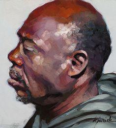 """200 Faces, No. 147"" - Karin Jurick, oil on masonite, 2015 {figurative #impressionist art male head african-american black man profile portrait painting} karinjurick.com"