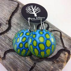 Polka Dot Green Blend Round Enamel by JanineGibbonsDesigns on Etsy Enamel Jewelry, Metal Jewelry, Beaded Jewelry, Vitreous Enamel, Gourds, Fused Glass, Terracotta, Metal Working, Jewelry Ideas