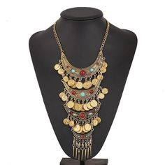 Vintage Bohemian Coin Statement Necklace