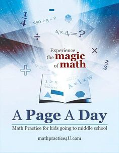 Attention middle school parents! keep math skills sharp this summer with just one page a day! Math Practice Workbook with 400 math problems and solutions.