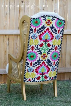 Craig's List chairs, gold paint, dropcloth, Waverly Santa Maria fabric, upholstery tutorial