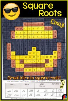 Squares and Square Roots Worksheet Square Roots Emoji Perfect Squares 8th Grade Math, Math Class, Math Skills, Math Teacher, Teacher Stuff, Math Resources, Math Worksheets, Math Activities, Simplifying Fractions