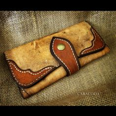 Long wallet leather split antique vintage caracoda by CARACODA, £45.00