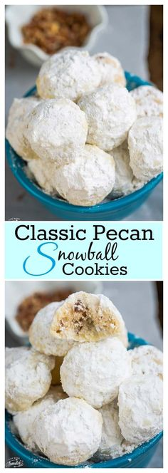 The BEST Christmas Cookies, Fudge, Candy, Barks and Brittles Recipes – Favorites for Holiday Treats Gift Plates and Goodies Bags! - Classic Pecan Snowball Cookies Recipe via Life Made Sweeter – These are the perfect classic treat - Cookie Desserts, Holiday Desserts, Holiday Baking, Holiday Treats, Holiday Recipes, Cookie Tray, Pecan Desserts, Pecan Recipes, Holiday Gifts