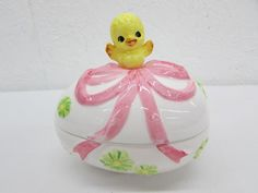 Vintage Lefton Ceramic Easter Egg W Chick Covered Candy Dish Trinket Box Spring