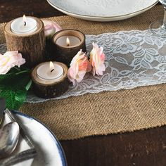 Burlap Table Runner with Lace - 12 Inch x 360 Inches Long - A Burlap Fabric Roll with White Lace and Finished Edges - A Perfect Burlap Roll Lace Runner for Rustic Weddings and Events! (Lace in Center)