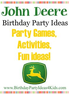 John Deere theme birthday party ideas - fun ideas for John Deere tractor theme party games, activities, food, decorations and more!  http://www.birthdaypartyideas4kids.com/john-deere-party.htm  For kids, tweens and teens ages 1, 2, 3, 4, 5, 6, 7, 8, 9, 10, 11, 12, 13, 14, 15, 16, 17 and 18 years old.