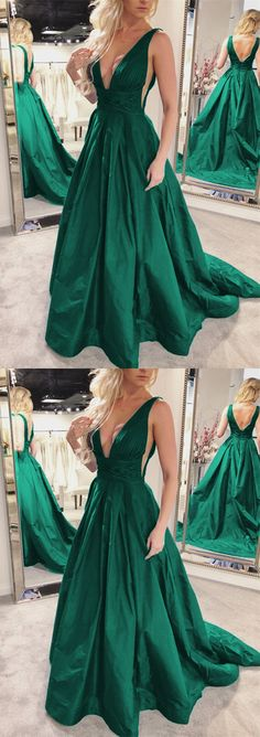Sexy Plunge V-neck Long Taffeta Green Prom Dresses 2018 Open Back Evening Formal Gowns For Women