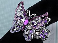 Amazon.com: Purple Amethyst Clear Crystal Rhinestone Butterfly Insect Bracelet Bangle Cuff: Jewelry