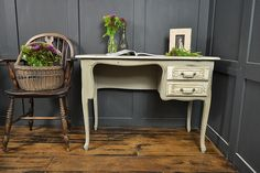 We adore this gorgeous art nouveau 2 drawer desk! Painted in a lightened version of Annie Sloan Chateau Grey with Old White Edging and Paris Grey inner drawers, with a hint of dark wax to give real character. Need a special space for your work, then look no further! http://www.thetreasuretrove.co.uk/tables/art-nouveau-shabby-chic-2-drawer-desk