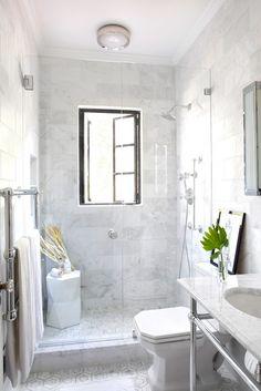White Marble Bathroom With Hexagon Tile