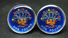 UK Great British enamelled coin cufflinks pound by wowcoin on Etsy
