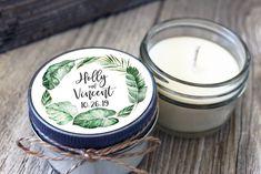 12 - 4 oz Candle Jars//Tropical Bridal Shower Favor//Tropical Leaf Bridal Shower Favor