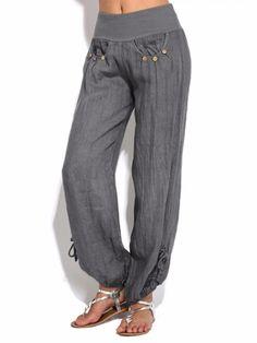 Free Women Casual High Waist Pure Color Button Yoga Harem Pants - Trendy Looks for Women - Shoes Fashion Pants, Look Fashion, Fashion Outfits, Fashion Trends, Fashion Women, Fashion Shoes, Mode Outfits, Casual Outfits, Women's Casual