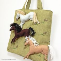 "Horse felt applique and embroidery mini bag by e.no.bag ""ウマ ノ バッグ "" #horse #felt #embroidery #horse"