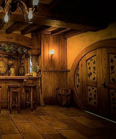 Door of rustic cabin, cottage or lodge.
