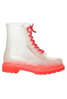 Coral clear rubber boots
