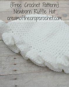Cream Of The Crop Crochet ~ Newborn Ruffle Hat {Free Crochet Pattern}