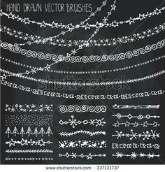 Christmas Hand drawn borders,garland brushes.New year doodle pattern textures,snowflakes,stars ornament.Christmas Decoration vector brushstroke.Winter symbols.Brushes included.Chalkboard background