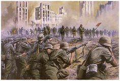 Soviéticos atacando posiciones alemanes en Stalingrado. (pintura)