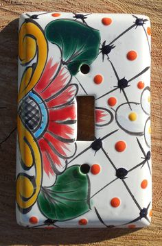 """Old Talavera Mexican Animal Pottery   Talavera Mexican Pottery Mexico 3"""" x 5"""" Light Switch Toggle Cover Wall ..."""