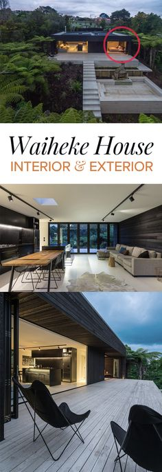 Waiheke Modern House Design • Interior and exterior of the house.