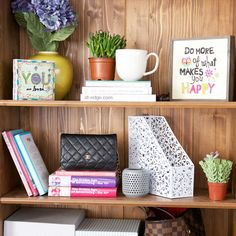 "Because who doesn't love a beautifully styled AND functional book shelf, especially when it features fun sun-shiney sayings like ""Do More of What Makes You Happy,"" #wedo #quotes #smallspacestyle"