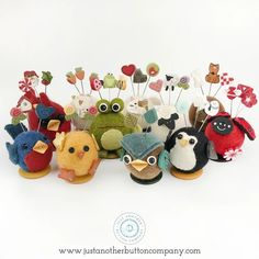 Welcome to Button Buddy Bonanza week! This week we are going to introduce you to some of our adorable little Button Buddy friends. Button Buddies are cute little pincushions characters are perfect for displaying a trio of your favorite Just Pins! Needle Felted Animals, Felt Animals, Needle Felting, Scrap Fabric Projects, Fabric Scraps, How To Make Buttons, Sewing Table, Pdf Patterns, Digital Pattern