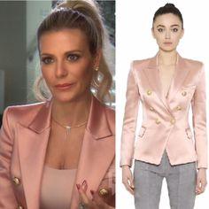 Dorit Kemsley's Pink Satin Blazer with Gold Buttons Dorit Kemsley, Big Blonde Hair, Pink Satin, Blush Pink, Blazers, Balmain Blazer, Sequin Blazer, Satin Jackets, Ladies Of London