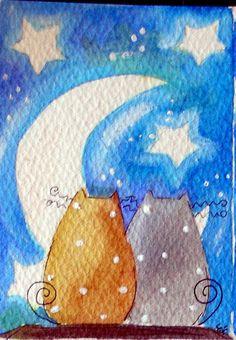 Original Watercolor ACEO Cats Moon Night Stars