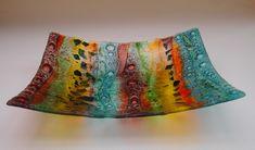 Fused Glass 'Woodland' Bowl 32x32cm - Janice Bradshaw