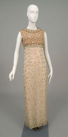 Philadelphia Museum of Art - Woman's Dress  Designed by Sophie Gimbel, American, 1898 - 1981  Geography: Made in New York, United States, North and Central America Date: c. 1968 Medium: Light brown and white chiffon with pastel iridescent paillettes, gold and silver seed beads and brilliants