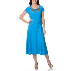 b7eb824c384f Lennie for Nina Leonard Women's Round Neck, Embellishment, Self Tie Belt,  Short Sleeve