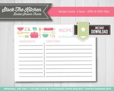 Recipe Cards: Kitchen Shower Theme Bridal Shower by MKKMDesigns