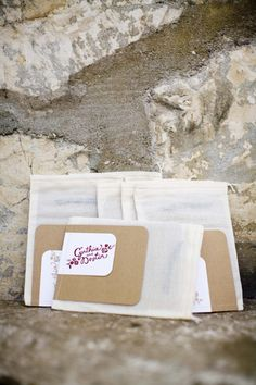 ceremony programs in muslin bags