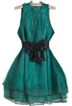Green Sleeveless Contrast Organza Belt Flare Dress GBP£11.16