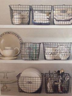 Baskets for shelving china.