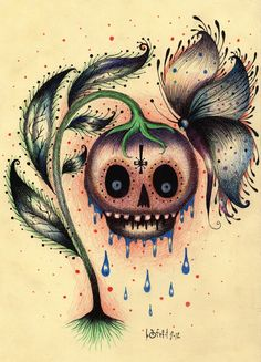 POISON APPLE (original drawing ink and colored pencils on paper) by Bafefit
