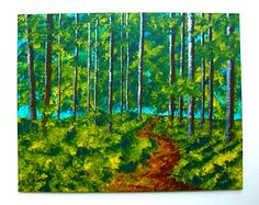 Twilight Woods ORIGINAL ACRYLIC PAINTING 8 x 10 by by MikeKrausArt