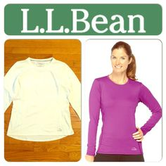 LL Bean WHITE Fitness Tee, Long-Sleeve LARGE B1-1 Product Details - Stay cool and comfortable The soft jersey-knit fabric is blended with stretch for exceptional comfort and ease of movement - Breathable mesh panels will keep you cool - The jersey-knit polyester fabric is blended with elastane for exceptional comfort. It also wicks moisture & dries quickly for all-day wear. Breathable mesh panels under arms and at back. Nonchafing flatlock seams. L.L.Bean logo on front &detail on back…