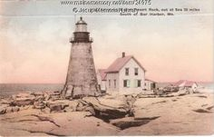 Mount Desert Rock lighthouse, MDI, Maine, ca. 1930. Reproductions available online