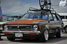 Datsun B210 Wagon. Love at first sight.  Datsun rat style with a bike on the rack, I think I just got a little too excited
