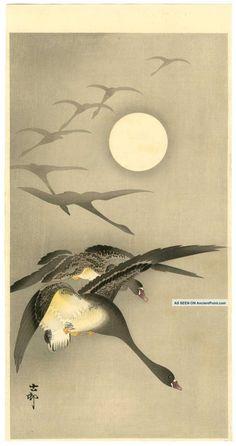 Koson Japanese Woodblock Print Geese & Full Moon 1920
