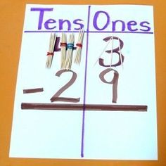 Excellent way to conceptually teach subtraction with regrouping. (Borrowing a bundle of tens) by francisca