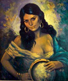 gypsy's in oil paintings  | gypsy woman with a tambourine gerard feldmann gypsy girl with a ...