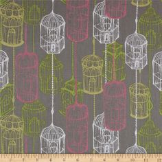 Cushion and Dust Birdcage Grey from @fabricdotcom  Designed by Sarah Watts for Blend Fabrics, this cotton print is perfect for quilting, apparel and home décor accents. Colors include pistachio, pink, mustard, white, and pewter grey.